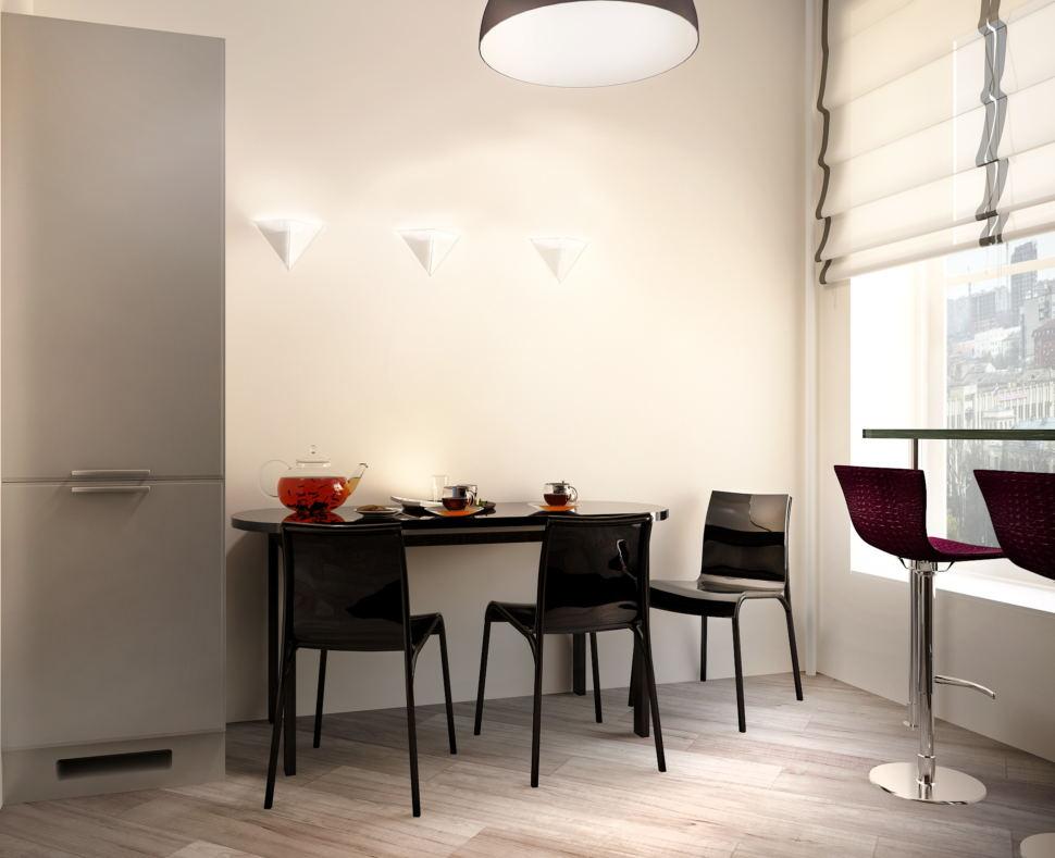 Дизайн кухни- гостиной 16 кв.м в светлых тонах с акцентами, черный обеденный стол, бра, стулья, барные стулья