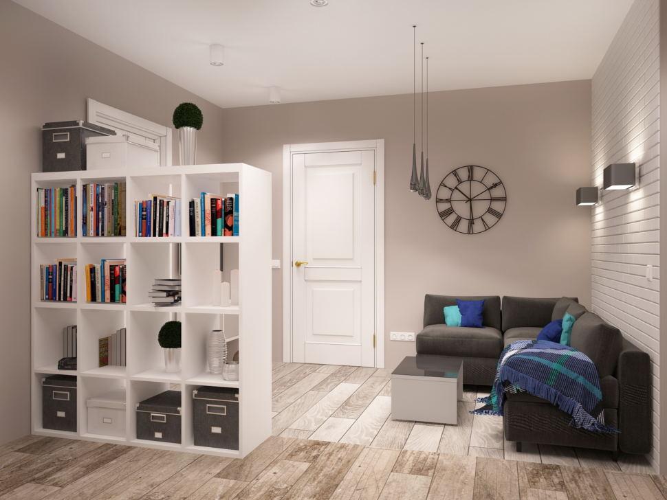 Дизайн-проект гостиной 7 кв.м в нейтральных тонах, серый диван, акцентные подушки, напольные покрытия, бра, белый стеллаж