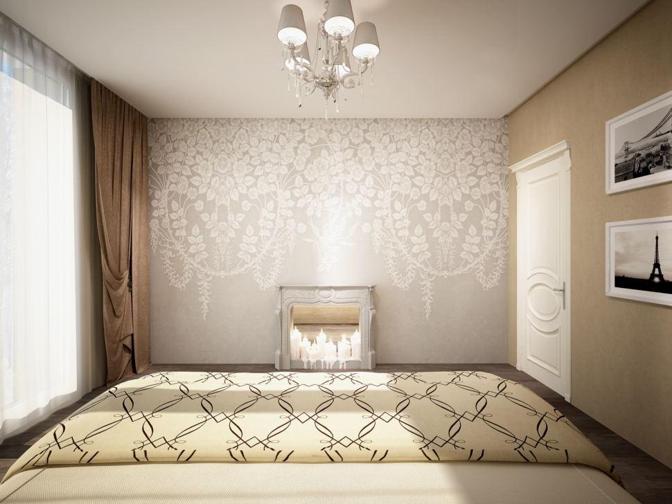 Визуализация спальни 20 кв.м в бежевых тонах, камин, декоративные обои, дверь, люстра, кровать, портьеры, дверь