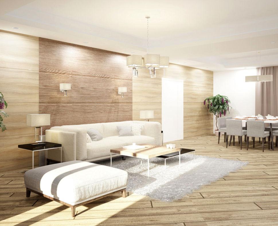 Дизайн гостиной 44 кв.м текстурами дерева, диван, серая банкетка, журнальный столик, люстра, ковер, обеденный стол