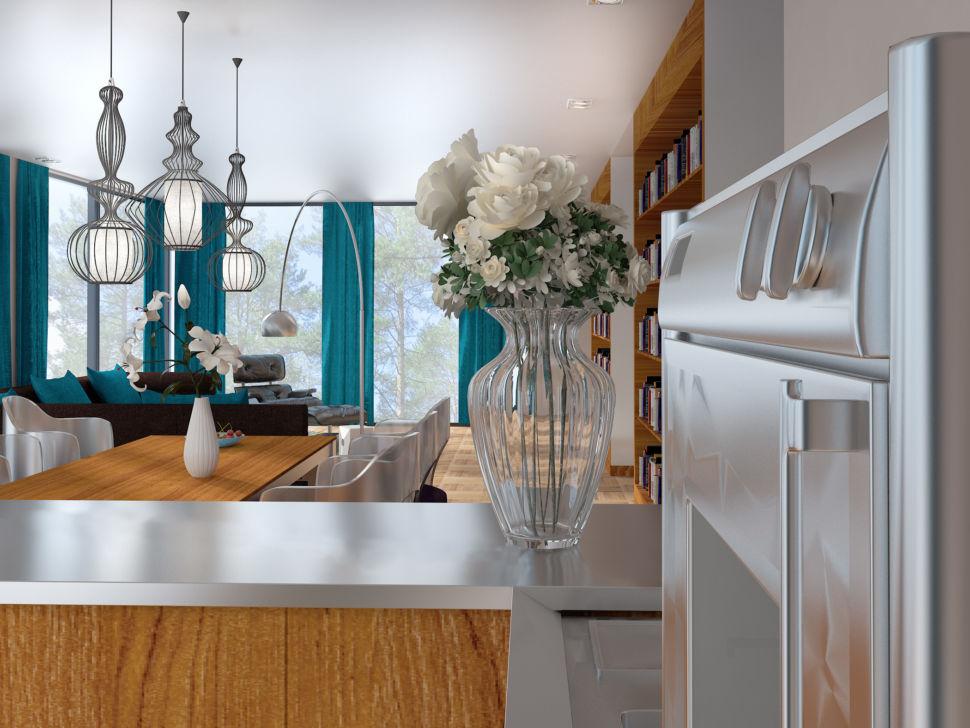 Визуализация помещения, барная стойка, ваза с цветами, подвесные светильники