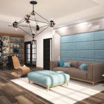 Визуализация гостиной 45 кв.м в бежевых тонах с бирюзовыми оттенками, паркет, люстра, серый диван, стеллаж, белый ковер