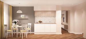 Визуализация кухни 14 кв.м в в белых и древесных тонах, желтые портьеры, белый обеденный стол, стулья, пвх плитка