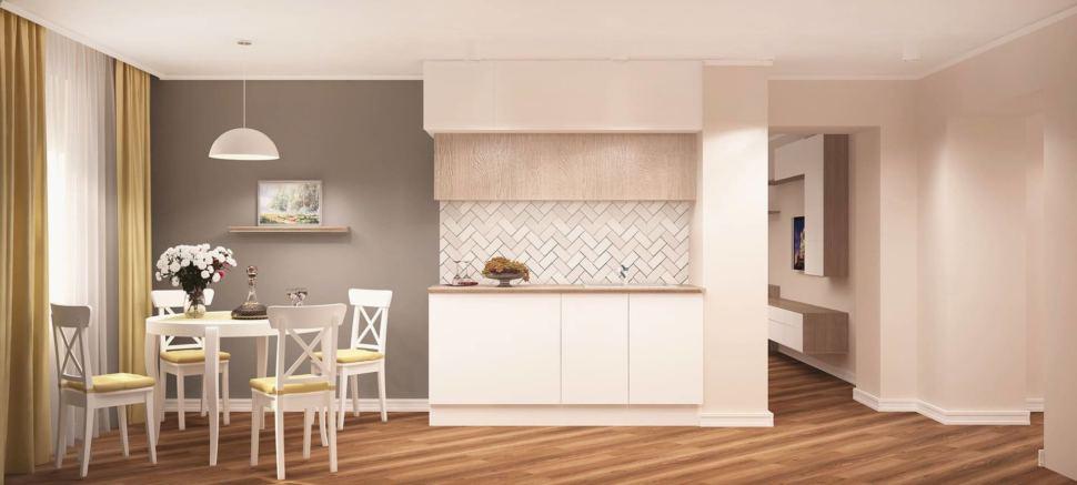 Интерьер кухни 14 кв.м в белых и бежевых тонах, белый обеденный стол, стулья, белые шкафы, люстра