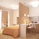 Проект комнаты 19 кв.м в теплых оттенках, белый кухонный гарнитур, барная стойка, барный стул, подвесные светильники, кровать, потолочные светильники