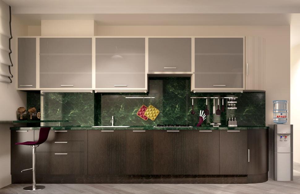 Проект кухни- гостиной 16 кв.м в светлых тонах с акцентами, темный кухонный гарнитур, мраморная столешница, зеленый фартук, барная стойка, стулья