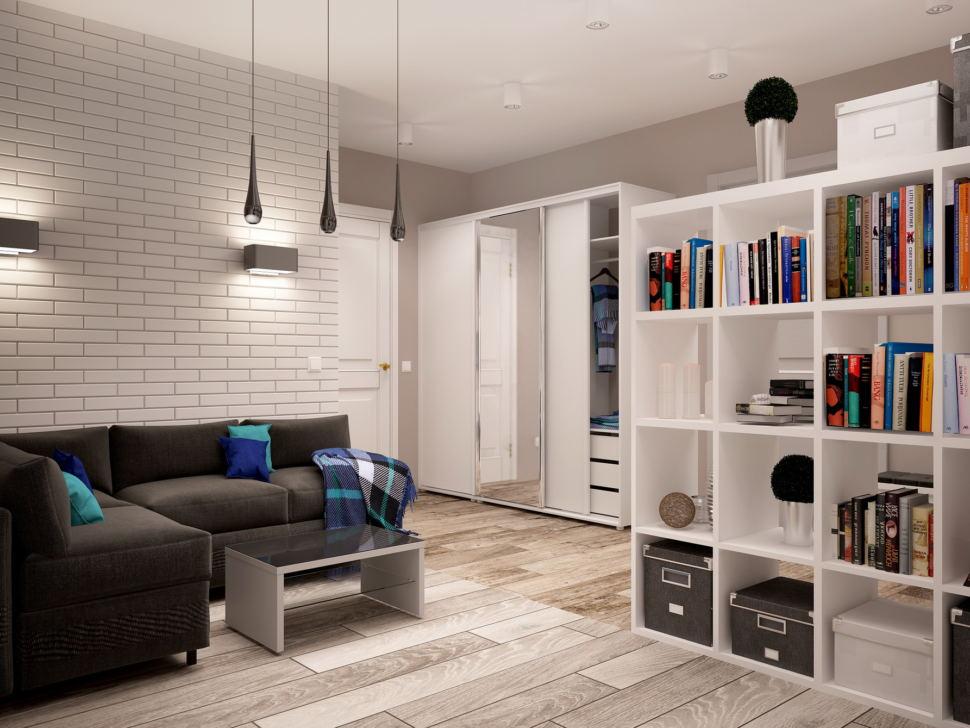 Визуализация гостиной 7 кв.м в нейтральных тонах, черный диван, журнальный столик, подвесные светильники, белый шкаф, стеллаж, зеркало