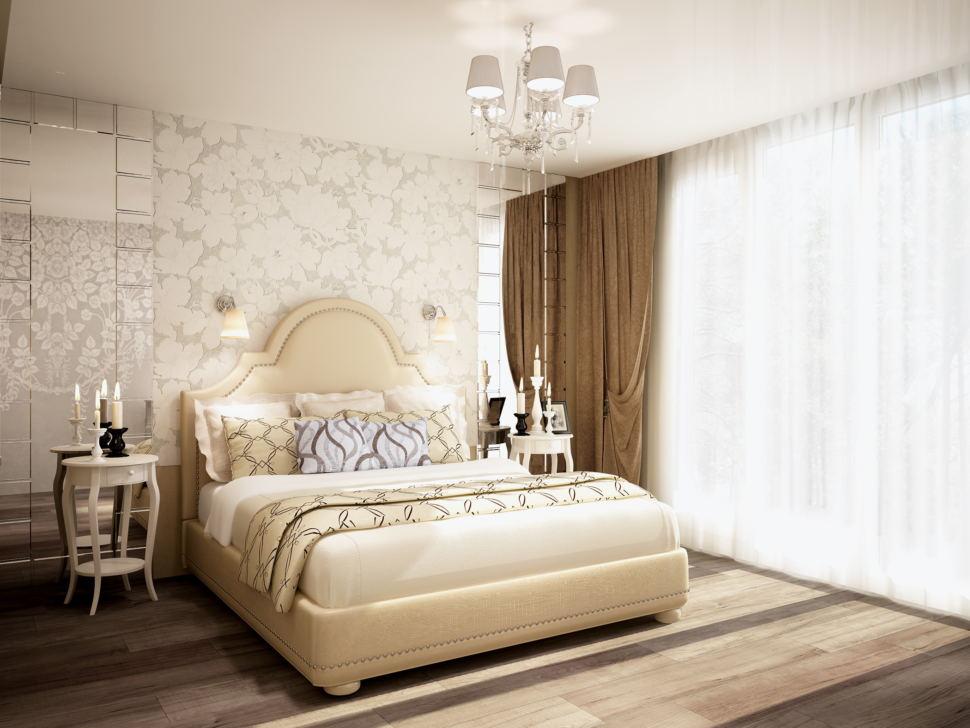 Интерьер спальни 20 кв.м в бежевых и кофейных тонах, бежевый портьеры, зеркало, белая прикроватная тумба, люстра