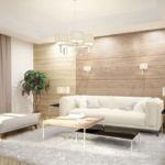 Визуализация гостиной в зоне дивана, белый диван, ламинат на стене банкетка, журнальный столик, лампа, белые бра