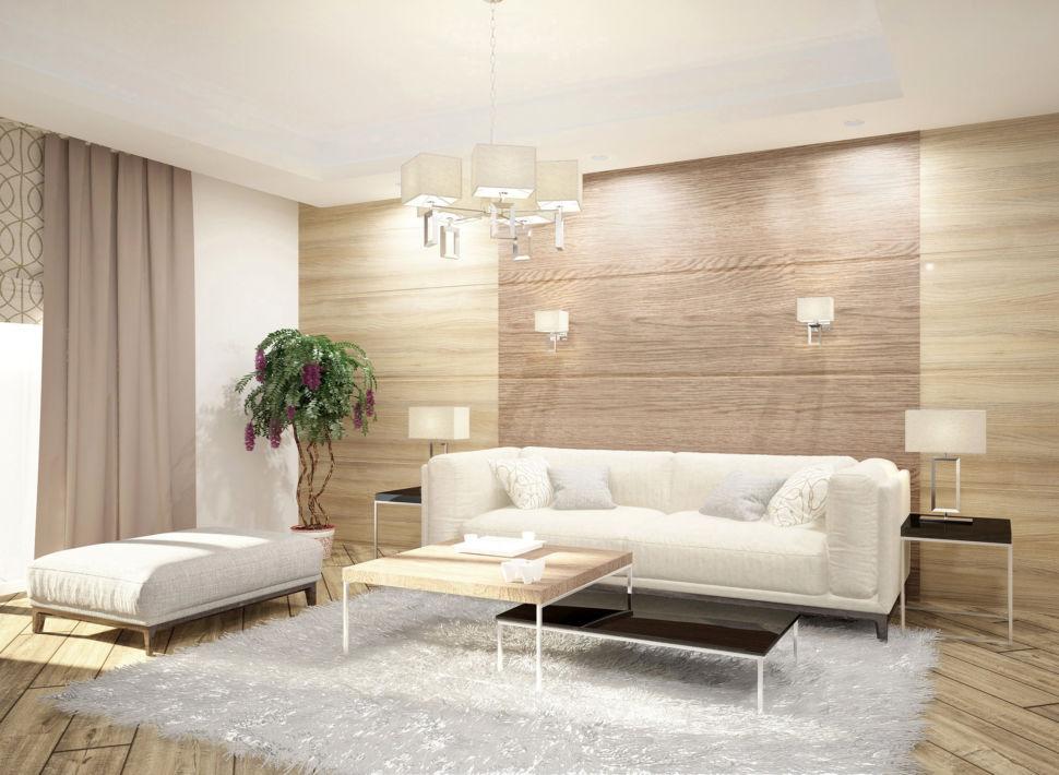 Визуализация гостиной 44 кв.м, белый диван, ламинат на стене банкетка, журнальный столик, лампа, бра
