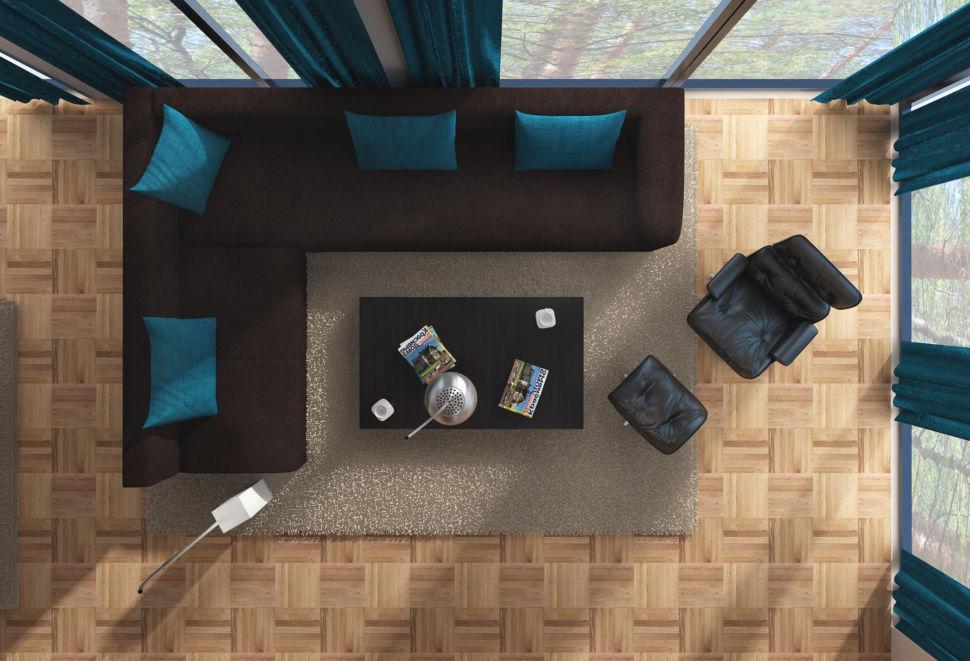 Дизайн-проект гостиной 56 кв.м в природных оттенках, диван коричневый, кресло черное, ламинат, портьеры акцентные, ковер