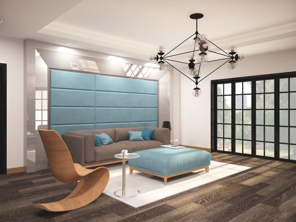 Визуализация гостиной 45 кв.м в бежевых тонах с бирюзовыми оттенками, паркет, мягкие панели, серый диван, банкетка, акцентная люстра
