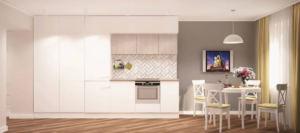 Интерьер кухни 14 кв.м в в пастельно-желтых тонах, белый кухонный гарнитур, обеденный стол, стулья, желтые портьеры