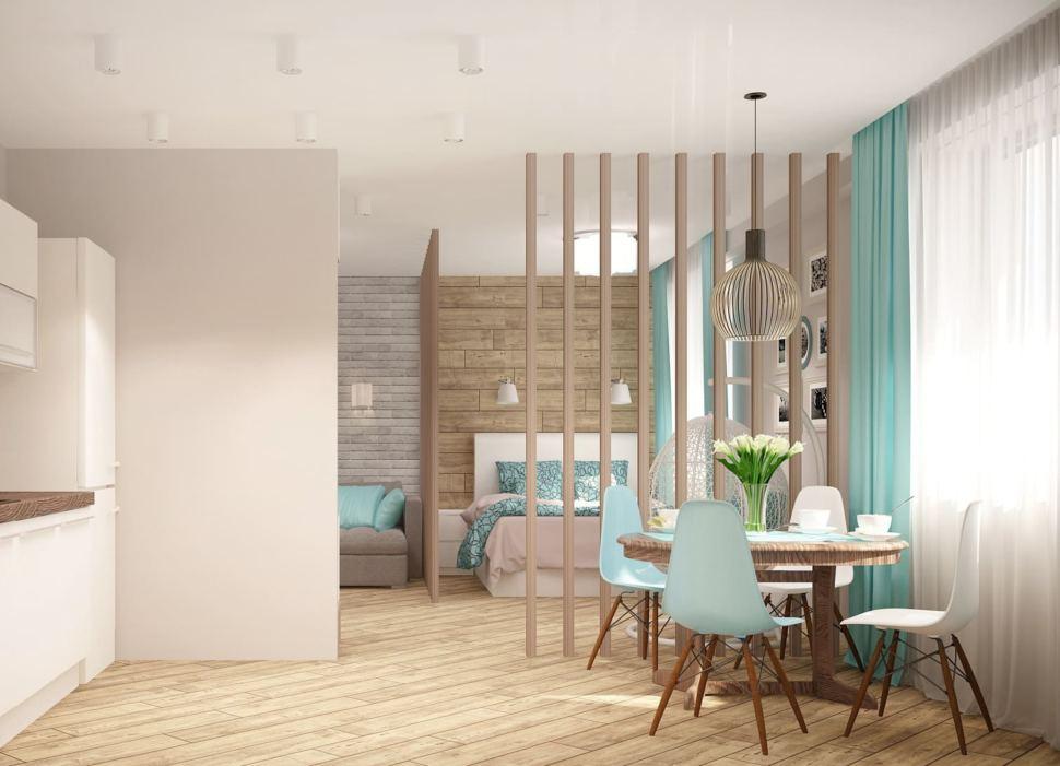 Проект кухни 13 кв.м в песочных тонах с бирюзовыми оттенками, бирюзовые портьеры, обеденный стол, стулья, подвесной светильник, перегородка