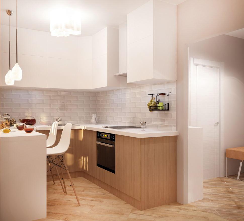 Визуализация комнаты 19 кв.м в теплых оттенках, кухонный гарнитур под дерево, барная стойка, белый барный стул, подвесные светильники