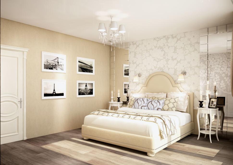 Дизайн-проект спальни 20 кв.м в бежевых и кофейных тонах, люстра, декоративные обои, зеркало, прикроватные тумбы, ламинат
