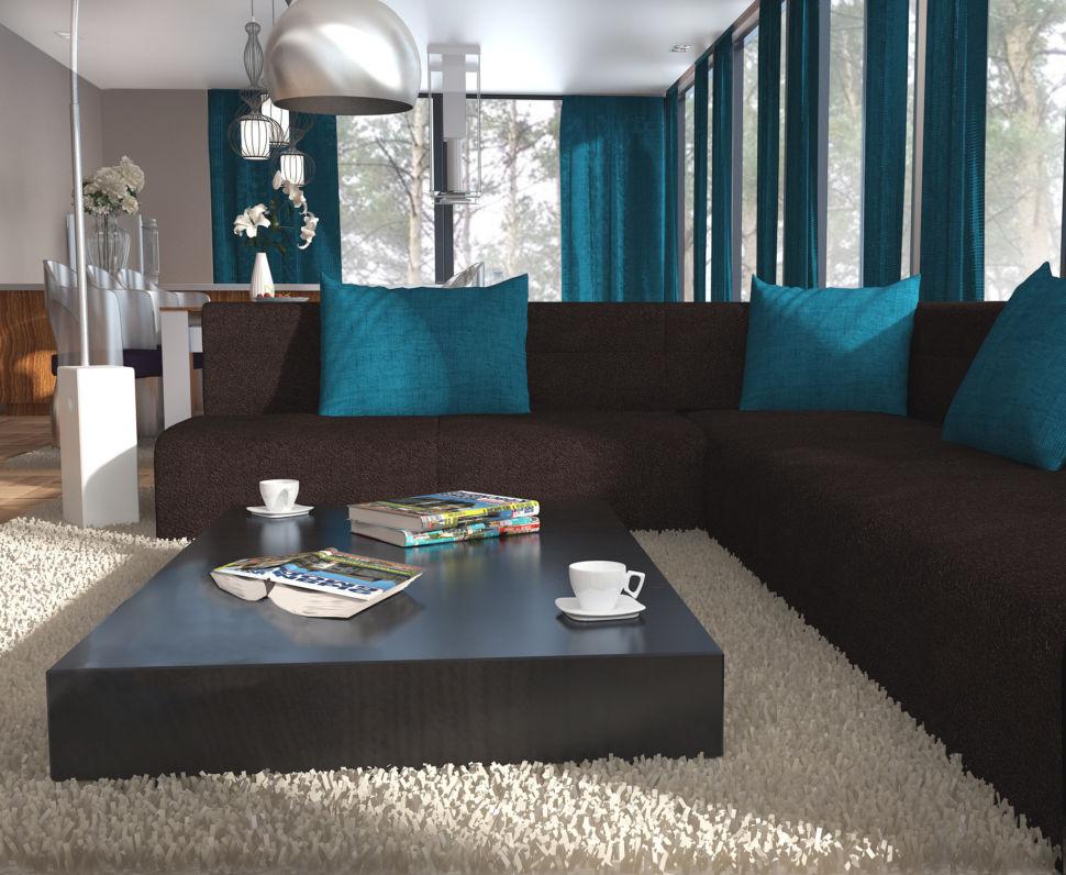 Визуализация зоны с диваном с яркими бирюзовыми портьерами, диван коричневого цвета, столик, ковер, акцентные подушки