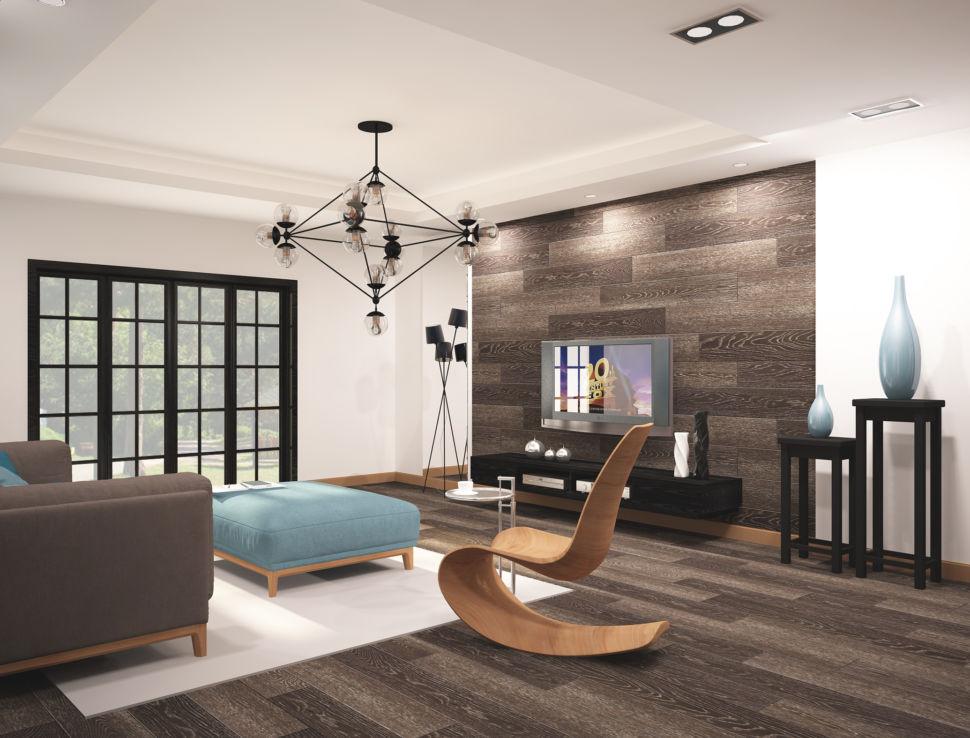 Дизайн - проект гостиной 45 кв.м в бежевых тонах с бирюзовыми оттенками, паркет, бирюзовый столик, телевизор