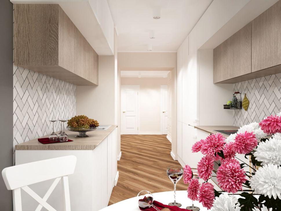 Дизайн-проект кухни 14 кв.м в белых и бежевых тонах, кухонный гарнитур, белые шкафы, потолочные светильники, стол