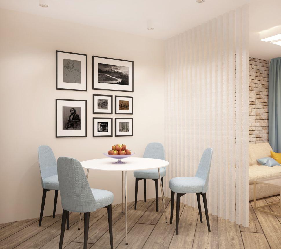 Проект кухни-гостиной 20 кв.м в теплых оттенках, белая декоративная перегородка, голубые стулья, обеденный стол, фотографии, белые накладные светильники