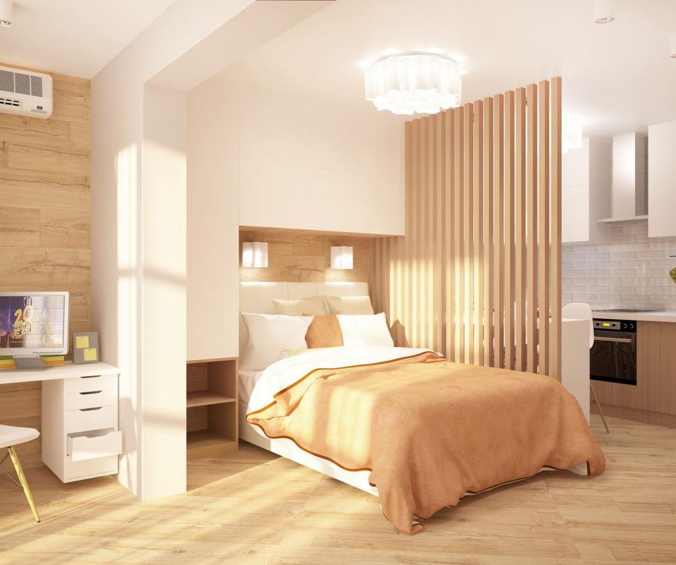 Интерьер комнаты 19 кв.м в теплых оттенках, рабочий стол, белый шкаф над кроватью, кровать, люстра, декоративная перегородка, пвх плитка