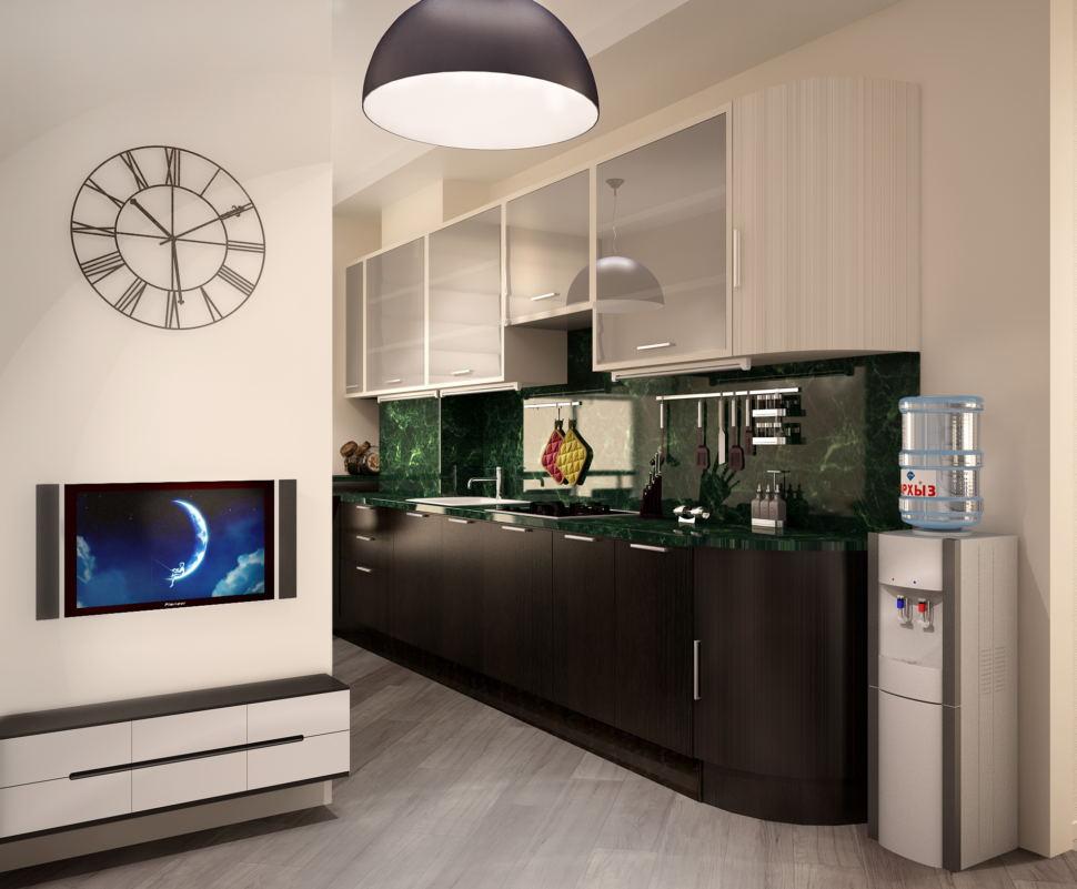 Визуализация кухни- гостиной 16 кв.м в светлых тонах с акцентами, темный кухонный гарнитур, телевизор, белая тумба под ТВ