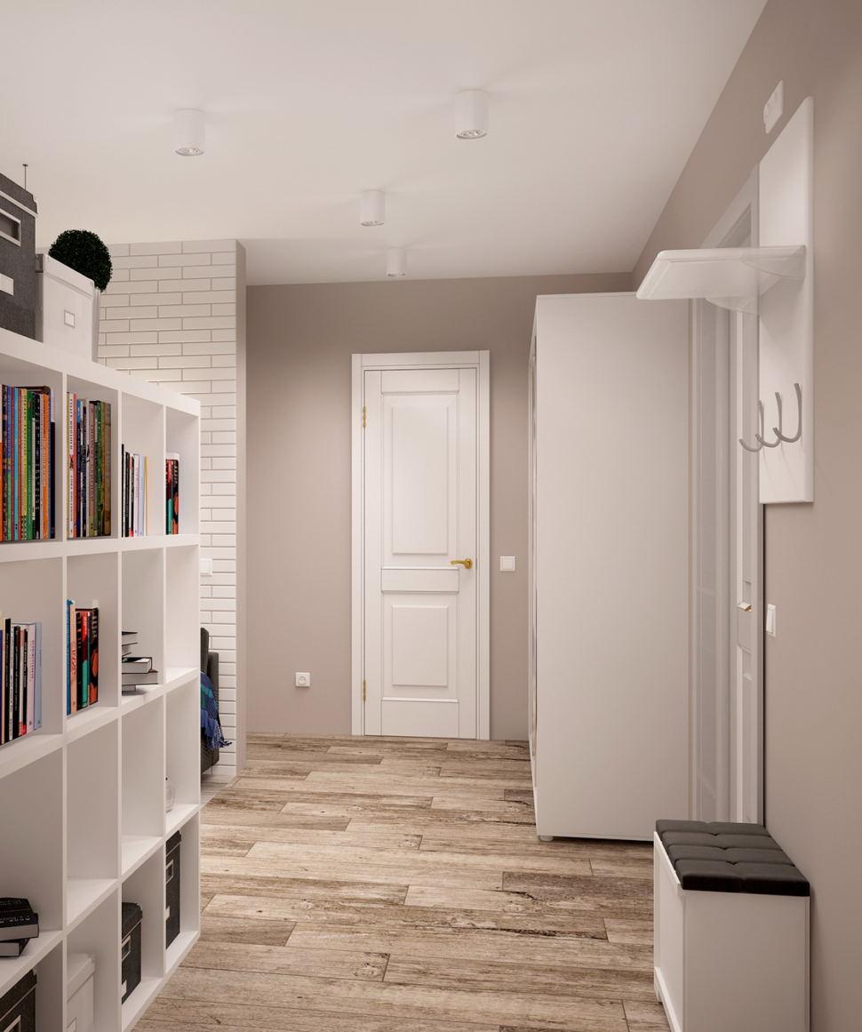 Интерьер гостиной 7 кв.м в нейтральных тонах, ламинат, банкетка, белый стеллаж, белый шкаф, вешалка