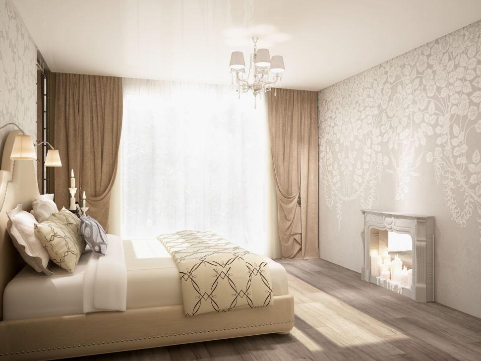 Визуализация спальни 20 кв.м в бежевых и кофейных тонах, декоративные обои, бежевая кровать, камин, бежевые портьеры, люстра, светильники