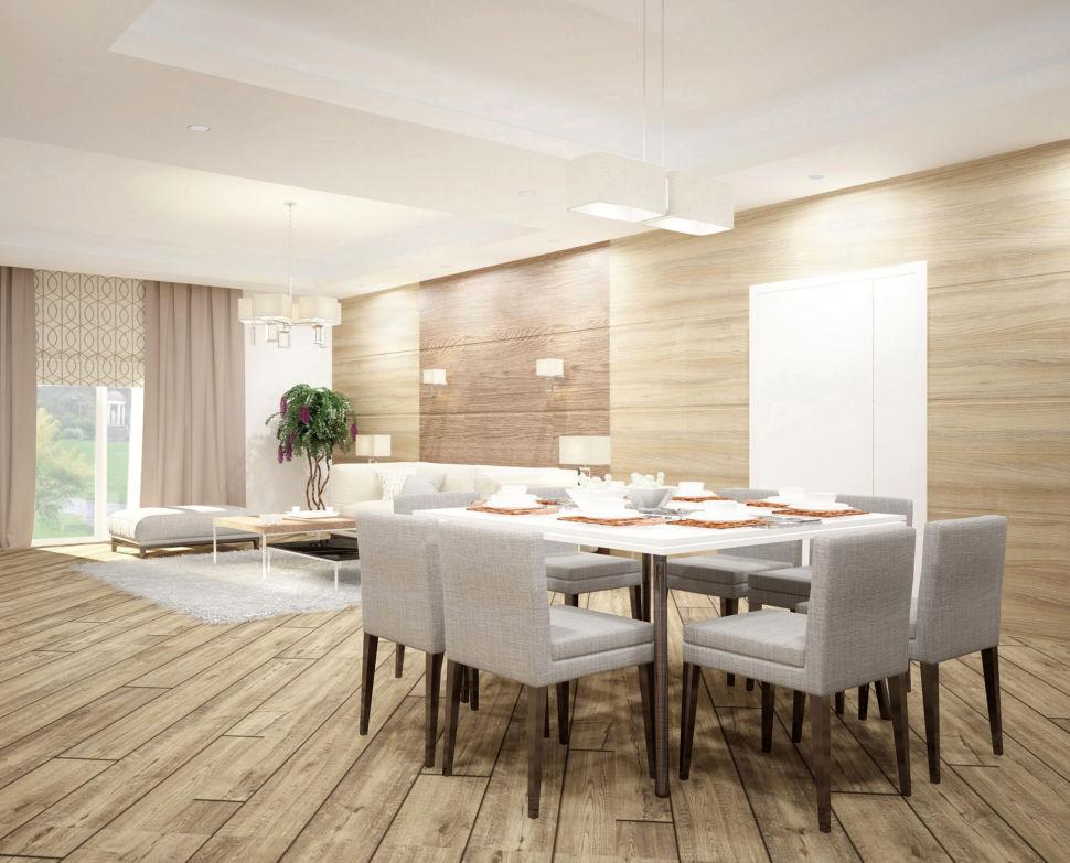 Проект гостиной 44 кв.м с природными текстурами, мягкие серые стулья, подвесная люстра, обеденный стол, паркет