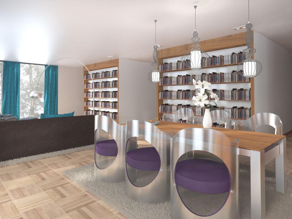 Визуализация гостиной 56 кв.м в бежевых тонах с яркими бирюзовыми портьерами, обеденный стол, дизайнерские стулья, подвесные светильники, стеллаж для книг