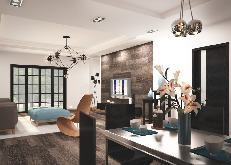 Визуализация гостиной 45 кв.м в бежевых тонах с бирюзовыми оттенками, паркет, дизайнерское кресло, паркет на стене, банкетка, обеденный стол