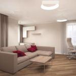 Интерьер гостиной 24 кв.м в бежевых и древесных тонах, бежевый диван, журнальный столик, кресло, светильники, портьеры