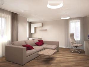 Интерьер гостиной 24 кв.м в бежевых и белых тонах, журнальный столик, угловой диван, стол, кресло, светильник