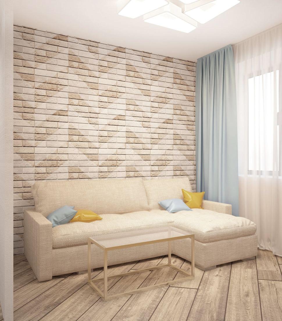 Интерьер кухни-гостиной 20 кв.м в теплых оттенках, бежевый диван, акцентные подушки, бирюзовые портьеры, журнальный столик, пвх плитка, бра