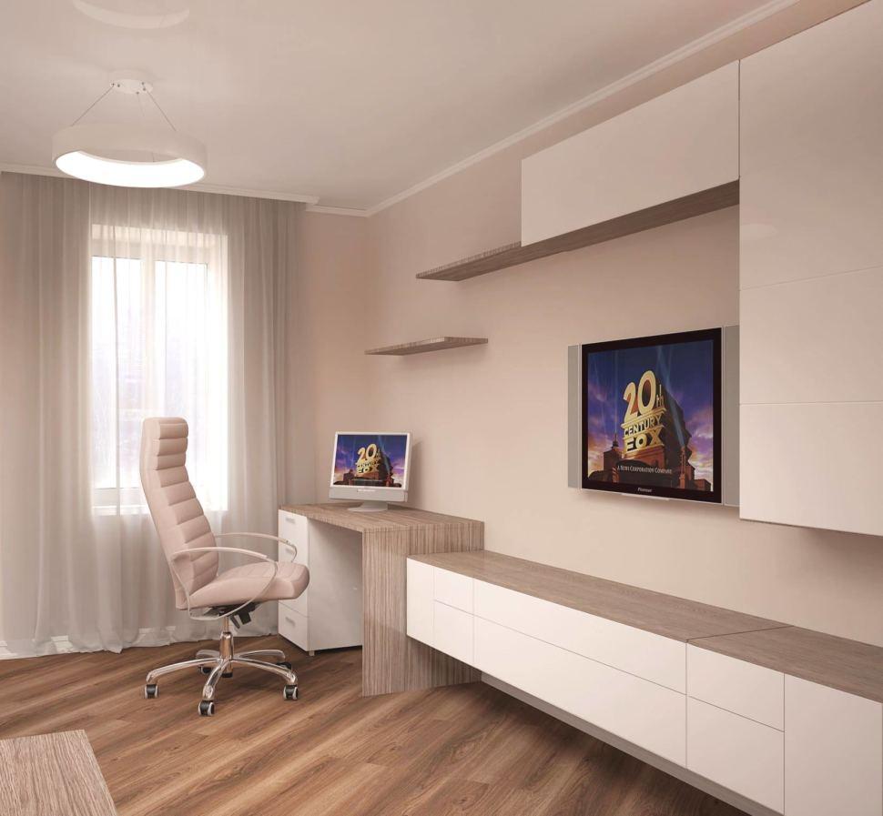 Визуализация гостиной 24 кв.м в белых и бежевых тонах, белая тумба под ТВ, бежевое кресло, стол, подвесные шкафы, светильники