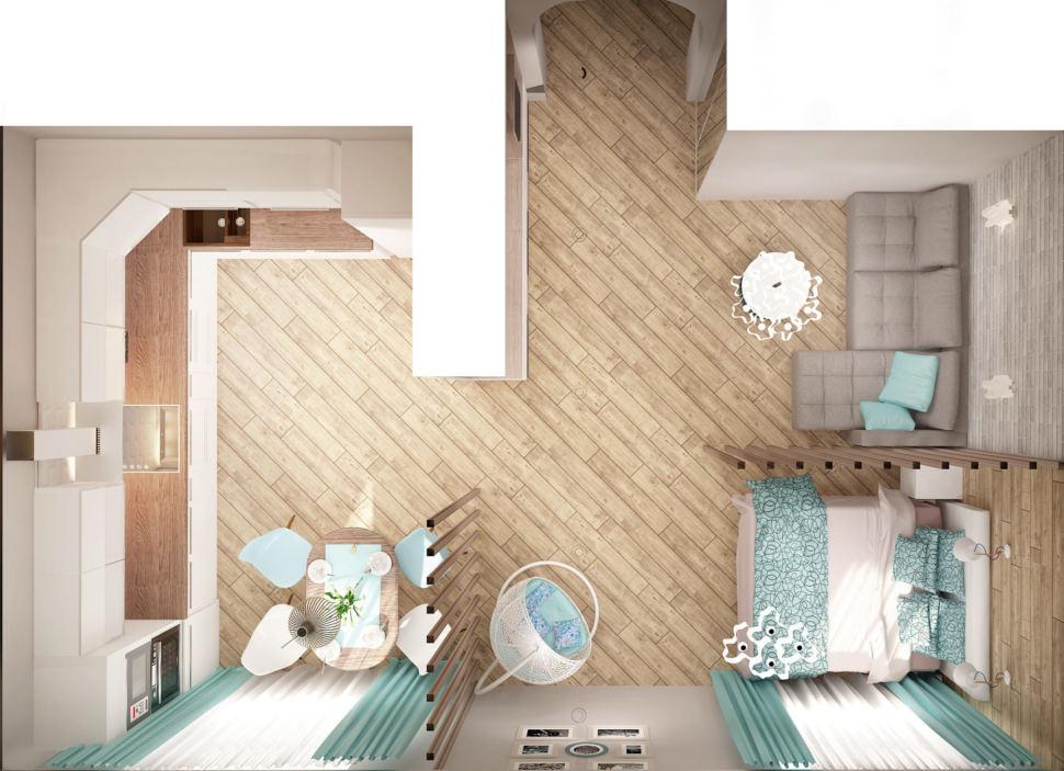 Дизайн спальни-гостиной 22 кв.м в песочных тонах с бирюзовыми оттенками, кровать, перегородка, серый диван, стол, кресло, кухонный гарнитур