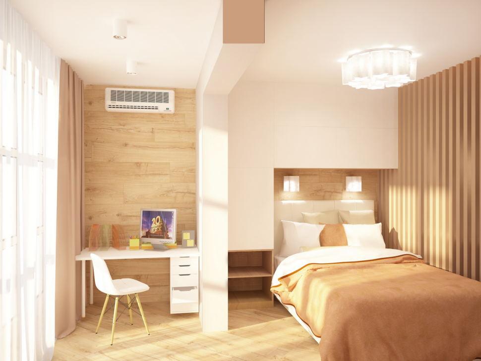 Визуализация комнаты 19 кв.м в теплых оттенках, рабочий стол, шкаф над кроватью, кровать, люстра, бра, декоративная перегородка