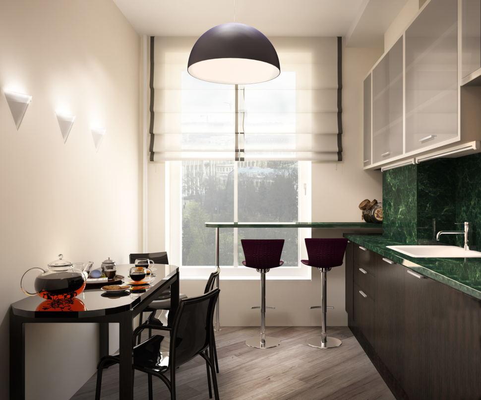 Визуализация кухни- гостиной в светлых тонах с акцентами, стол, стулья, темный кухонный гарнитур, барная стойка