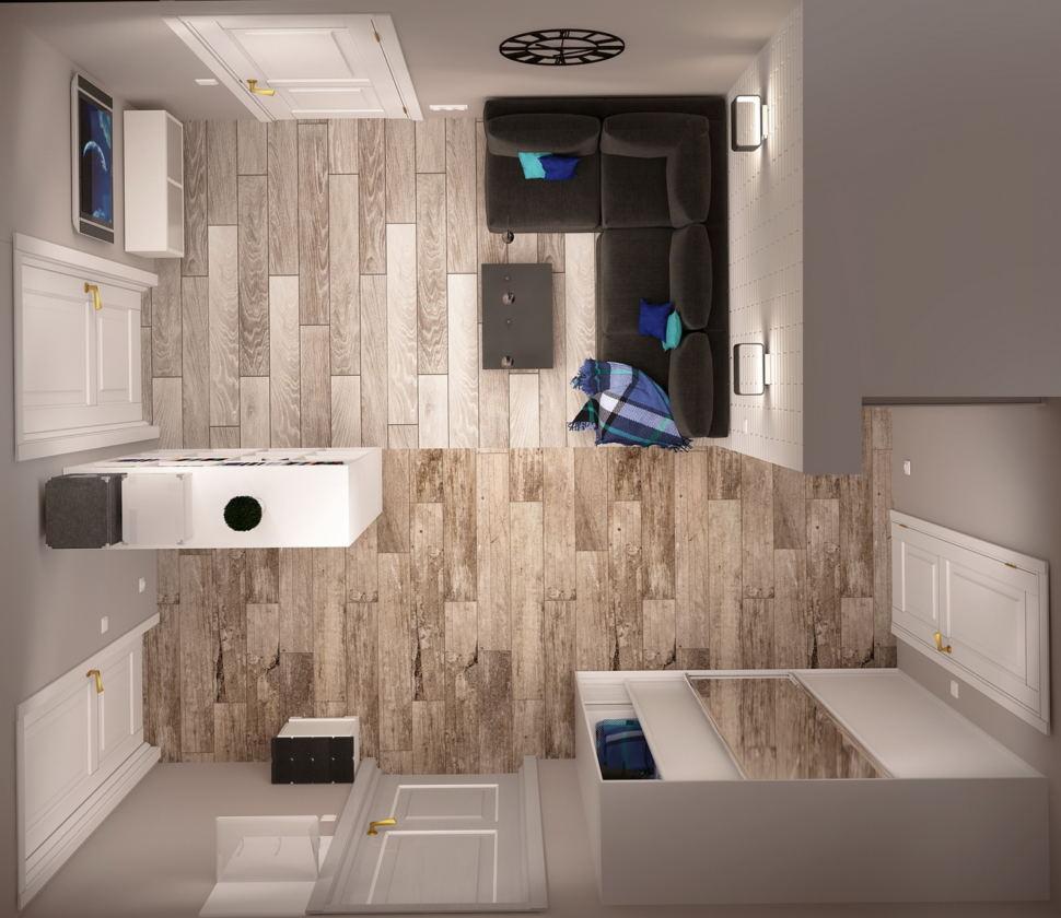 Визуализация гостиной 7 кв.м в нейтральных тонах, черный диван, акцентные подушки, стеллаж, шкаф, зеркало, напольные покрытия, бра