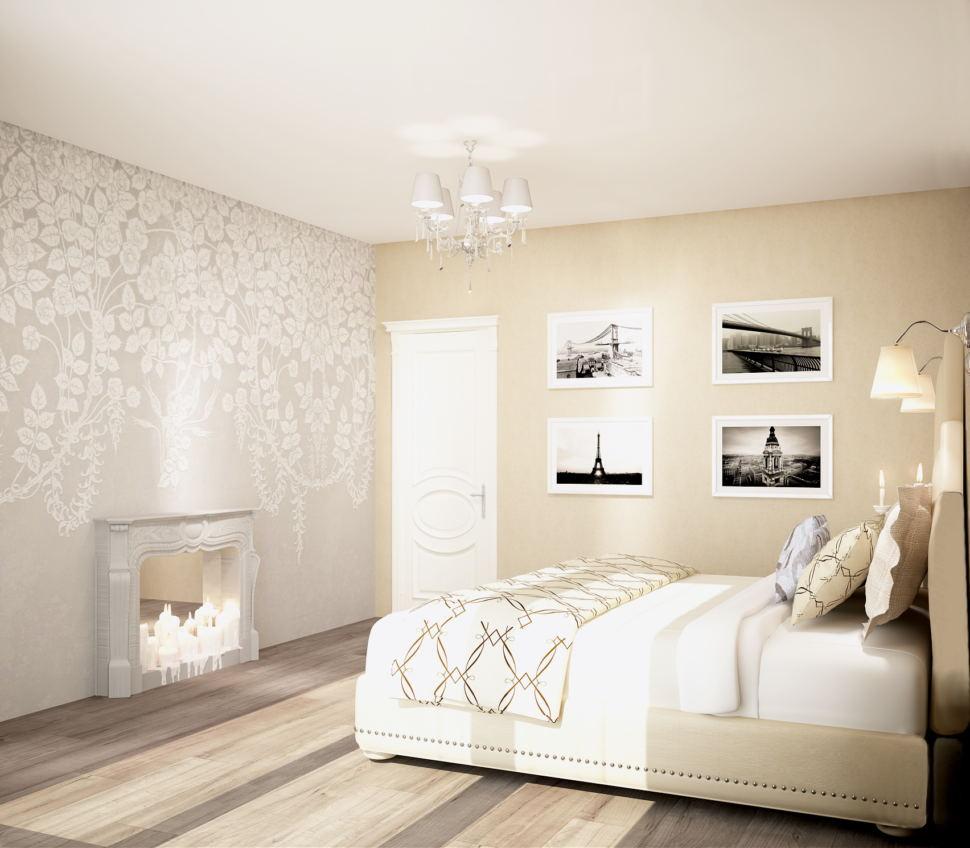 Дизайн-проект спальни 20 кв.м в бежевых и кофейных тонах, ламинат, декоративные обои, фальшь камин, декор, кровать, настенные светильники