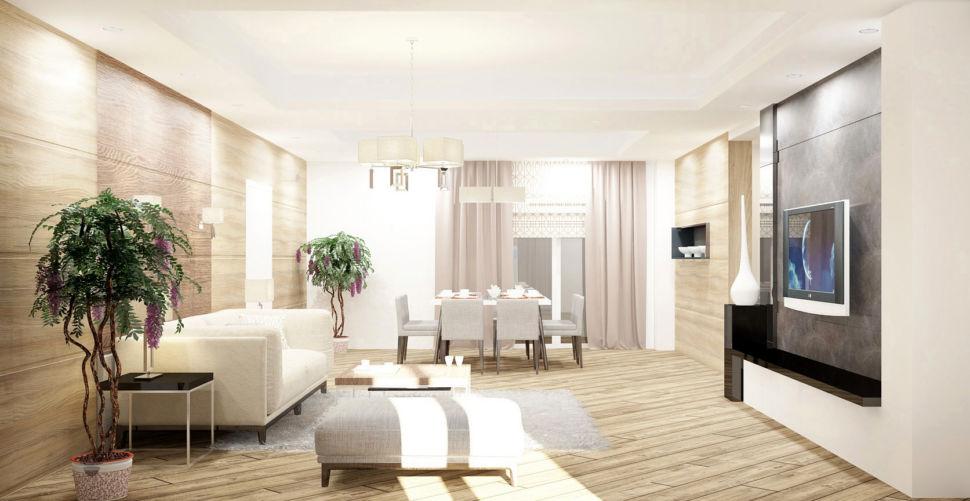 Визуализация гостиной 44 кв.м с природными текстурами, белый диван, банкетка, журнальный столик, приставной столик, ковер, телевизор