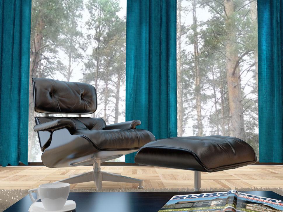 Визуализация Визуализация акцентного кресла с яркими бирюзовыми портьерами, ламинат, кресло черного цвета, журнальный столик, банкетка