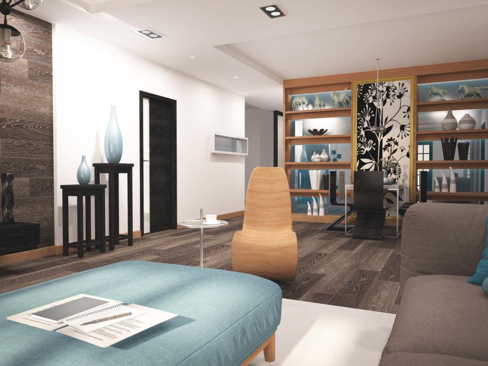 Визуализация гостиной 45 кв.м в бежевых тонах с бирюзовыми оттенками, паркет темный, дизайнерское кресло, светло-бирюзовая банкетка