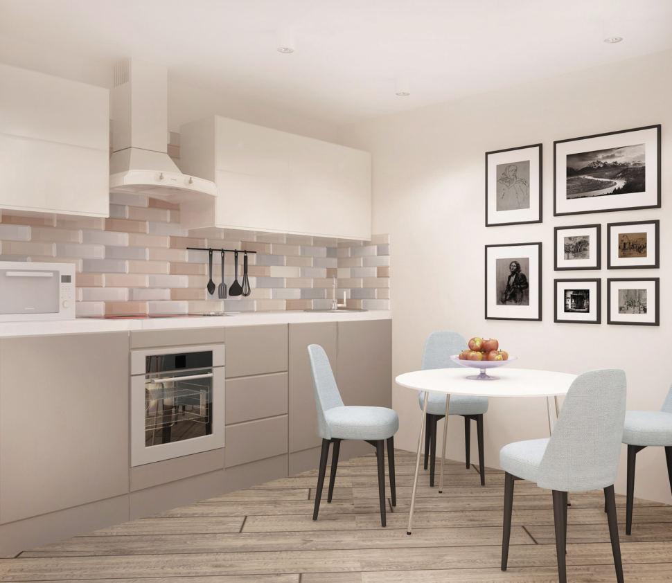 Визуализация кухни-гостиной 20 кв.м в теплых оттенках, белый кухонный гарнитур, фартук бежевый, стулья, белый обеденный стол, элементы декора