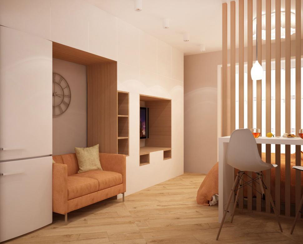 Проект комнаты 19 кв.м в теплых оттенках, бежевый диван, шкаф под телевизор, белая барная стойка, декоративная перегородка, пвх плитка