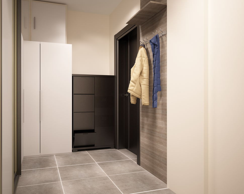 Проект кухни- гостиной 10 кв.м в светлых тонах с акцентами, потолочные светильники, белый шкаф, открытая вешалка, черная галошница