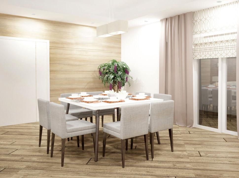 Визуализация гостиной 44 кв.м, обеденная группа с природными акцентами, серые стулья, белый стол, портьеры, подвесная люстра, паркет