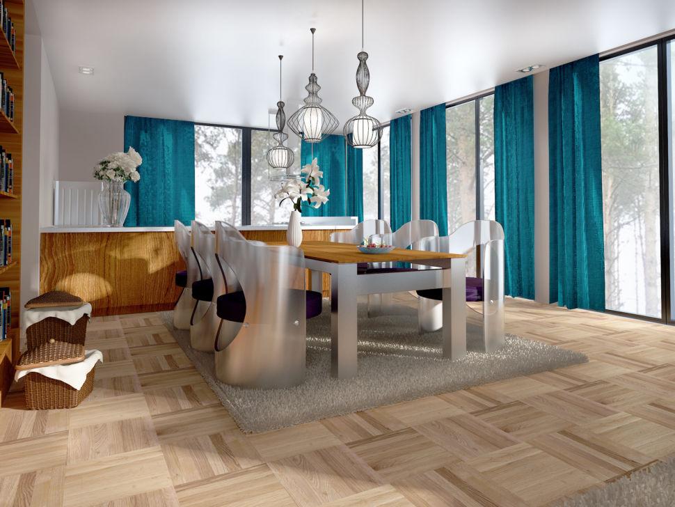 Дизайн гостиной 56 кв.м в бежевых тонах с яркими бирюзовыми портьерами, обеденный стол, дизайнерские стулья, подвесные светильники,, серый ковер