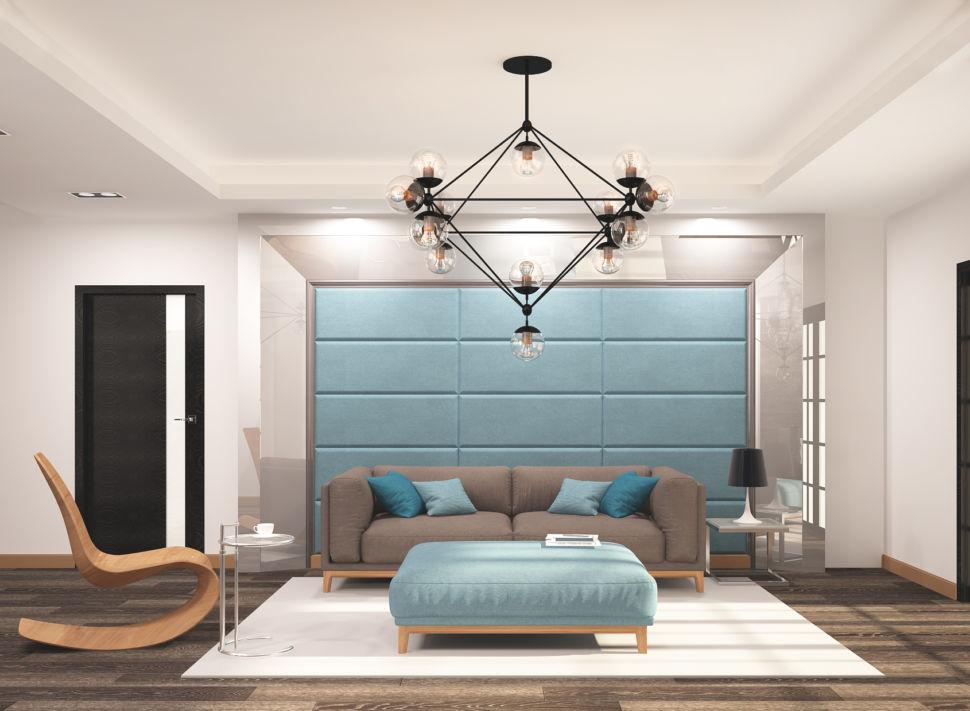 Дизайн гостиной 45 кв.м в бежевых тонах с бирюзовыми оттенками, кресло, серый диван, банкетка, белый ковер, светильники