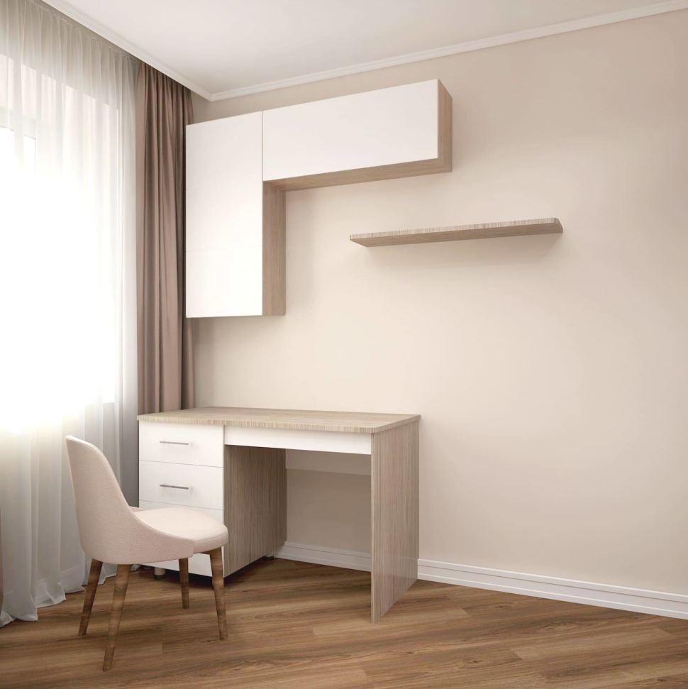 Визуализация гостиной 24 кв.м в белых и древесных тонах, бежевый стул, стол, подвесные шкафы, ламинат